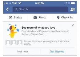 Usuários do Facebook poderão escolher o que aparecerá no feed de notícias.
