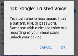 Atualização do Android permite desbloqueio por reconhecimento de voz.