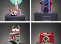 Câmeras antigas são recriadas com papel por artista sul coreano.