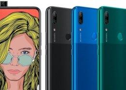 Vaza foto do Huawei P Smart Z, smartphone com câmera retrátil.