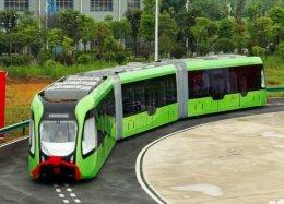China testa trem sem condutor que circula por ruas em vez de trilhos.